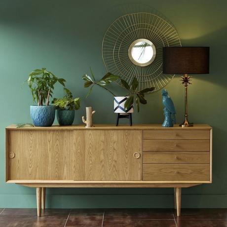 tendance néo art déco mur vert commode bois décoration rétro nouvelle - blog déco - clem around the corner
