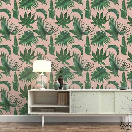intérieur californien papier peint tropical