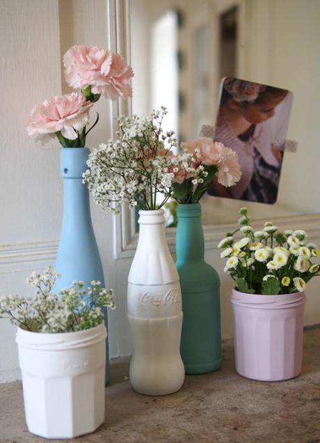 idée déco récup vase bleu fleurs - blog déco - clem around the corner