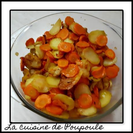 Poêlée de carottes, pommes de terre et poulet à l'actifry