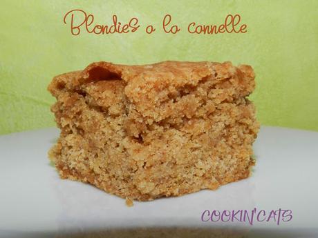 BLONDIES A LA CANNELLE (sans gluten, sans lait)