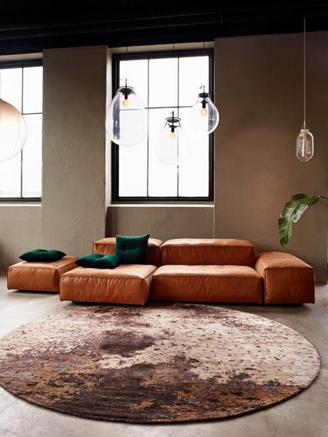 tapis rond style industriel salon - blog déco - clem around the corner