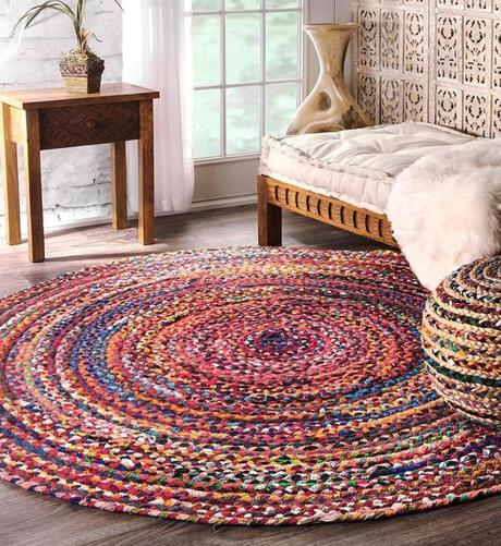 tapis rond coton ethnique chambre - blog deco - clem around the corner