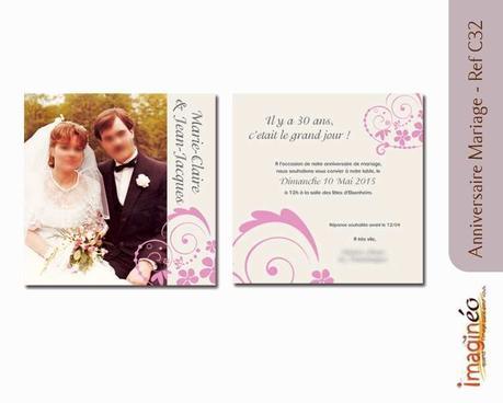Carte invitation anniversaire de mariage 30 ans gratuite