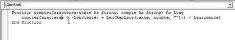 Comment compter les répétitions de caractères dans une cellule et créer une fonction personnalisée sur Excel ?