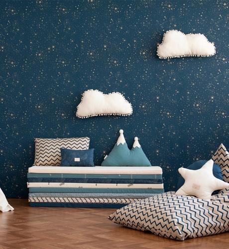 coussin de sol chambre étoile bleu marine - blog déco - clem around the corner