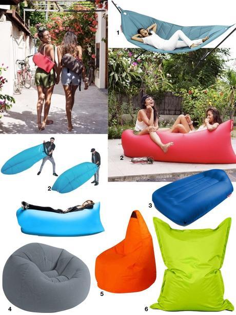 coussin de sol pouf gonflable design pas cher jardin terrasse balcon - blog déco - clem around the corner