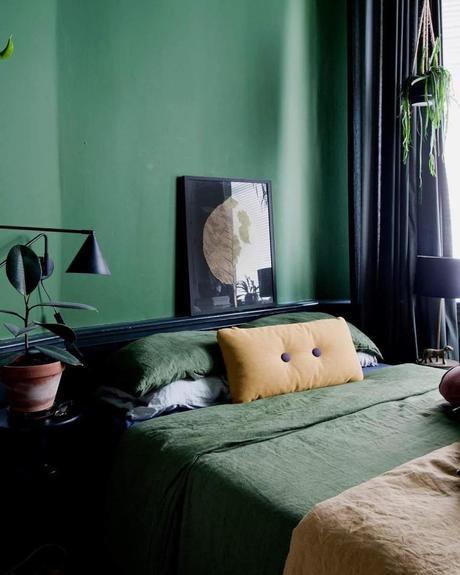 style éclectique définition chambre vert kaki lit - blog déco - clem around the corner
