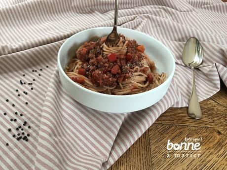 Spaghetti bolognaises vegan {aux lentilles, champignons et noix}