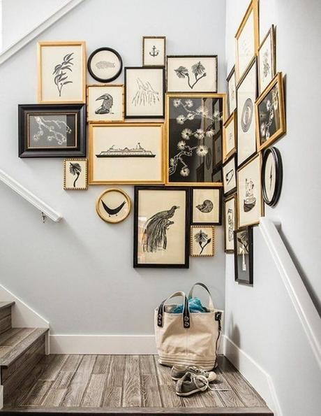 mur de cadres escalier style vintage blanc gris marron - blog déco - clem around the corner