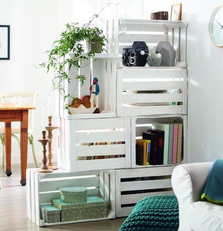 bons plans cagette bois blanc séparation salon cuisine - blog déco - clem around the corner