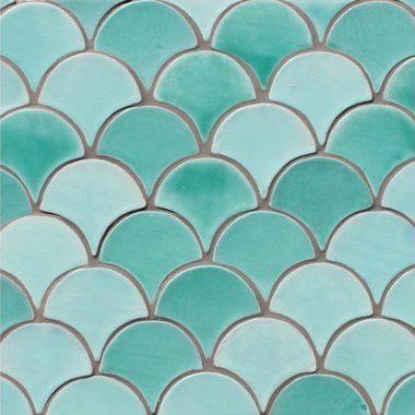 carrelage ecaille poisson deco turquoise artisanat