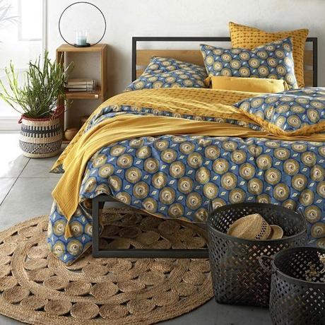 panier de rangement en osier la redoute chambre rustique campagne tapis osier drap ethnique - blog déco - clem around the corner