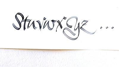 Fantaisie du pinceau plat....alphabet noir, suite