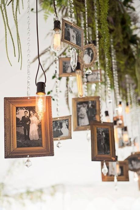 cadre photo suspendu déco murale mariage diy chic - blog decoration - clem around the corner