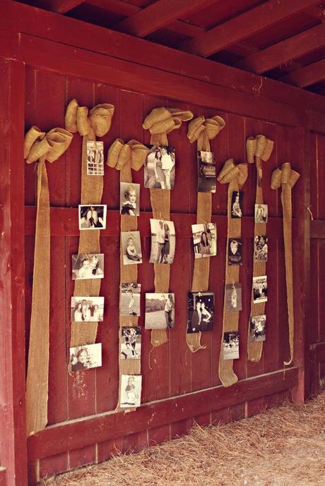 affichage photo déco murale mariage theme rustique chic clemaroundthecorner