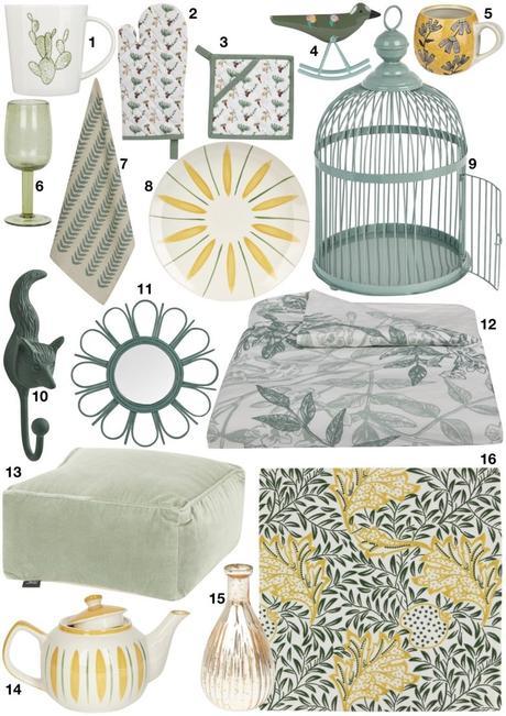 shopping déco de printemps ambiance décoration bucolique vert et jaune - blog déco - clem around the corner