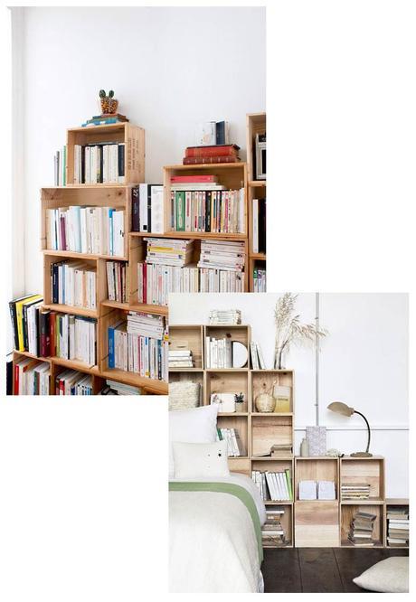 questions déco caisses bois bibliothèque