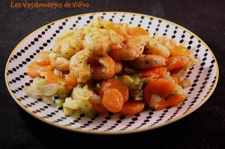 Crevettes au chou et aux carottes