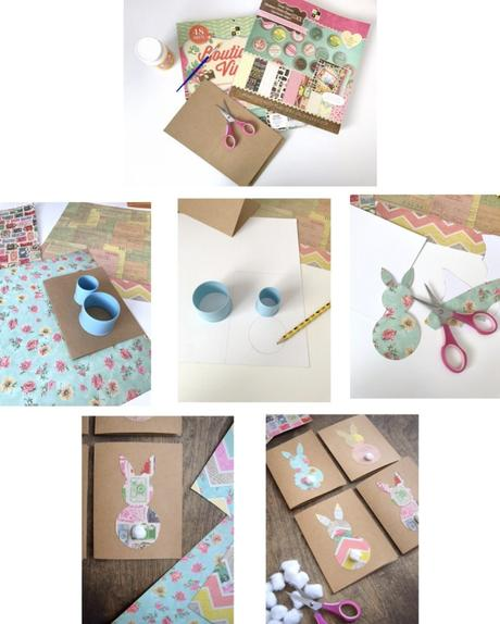 Pâques diy carte carton marron lapin bricolage facile vintage - blog déco - clem around the corner