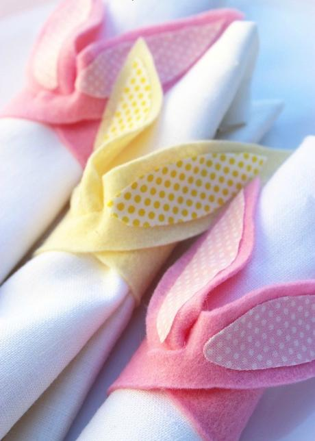 Pâques diy serviette oreille lapin rose jaune pois - blog déco - clem around the corner
