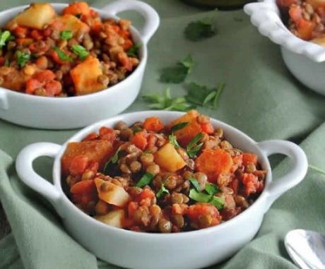 Recette lentilles aux légumes ww