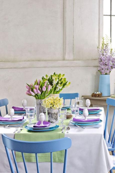 table de pâques déco violet bleu pastel bucolique - blog déco - clem around the corner