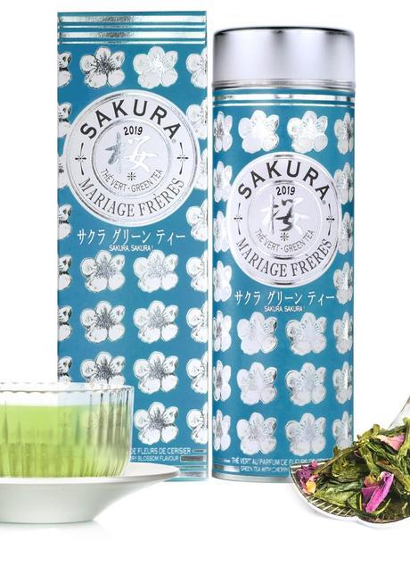 Mariage Frères thé vert packaging fleuri bleu blanc saveur fleurs de cerisier - blog déco - clem around the corner