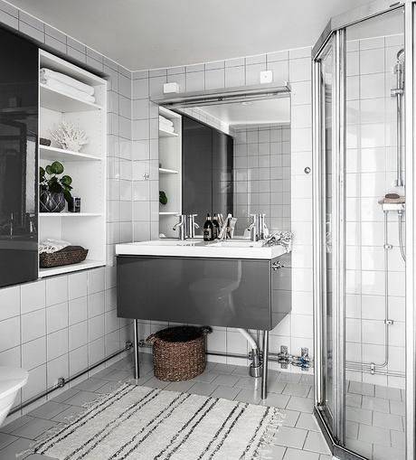loft suédois salle de bain grise blanche - blog déco - clem around the corner