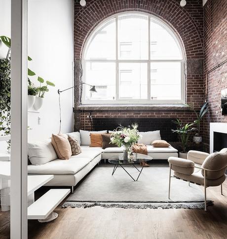 loft suédois salon briques rouges - blog déco - clem around the corner
