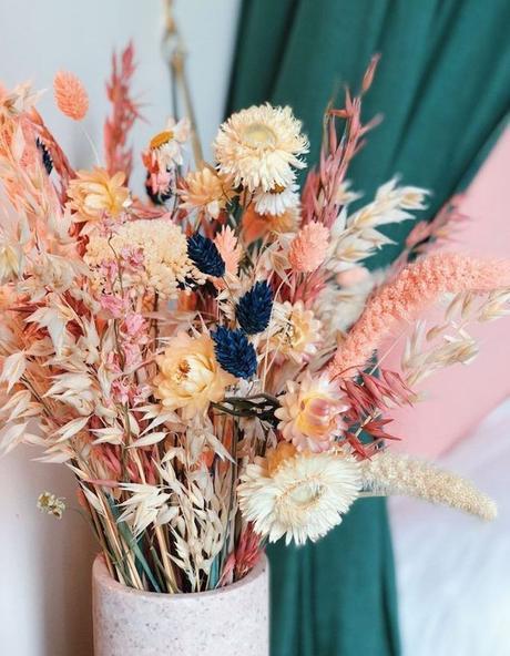 fleurs séchées bouquet été idée décoration champêtre rose vert - blog déco - clem around the corner