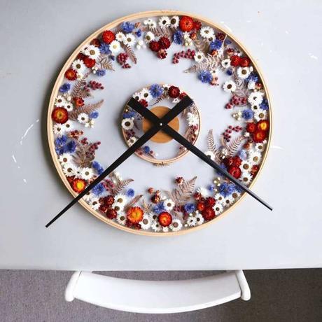 horloge diy fleurs séchées tambour tulle - blog création diy design clemaroundthecorner