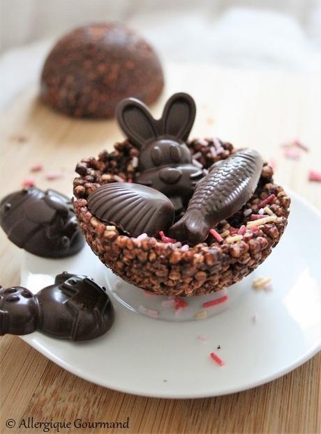 Nids de Pâques au quinoa soufflé chocolaté { sans gluten, sans lait, sans œufs }