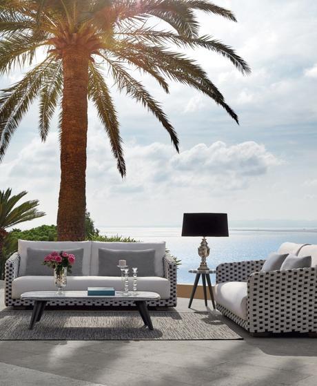 salon extérieur palmier vue sur mer plage été meuble outdoor