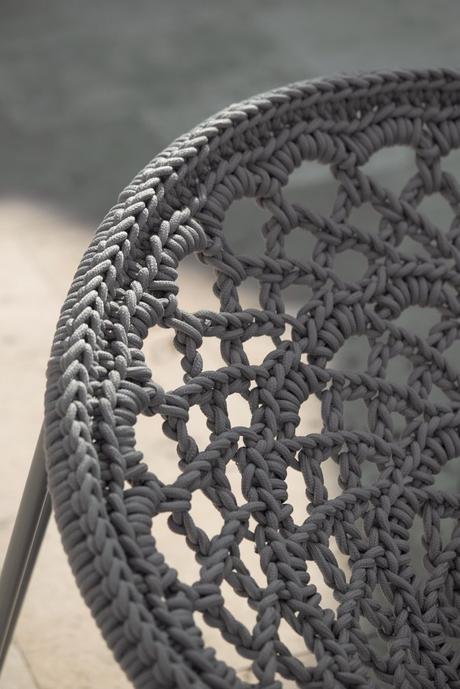 détail tressage fauteuil outdoor gris extérieur meuble