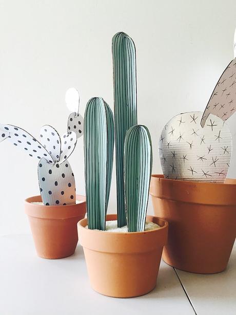 plante en papier diy cactus pot en terre cuite - blog déco - clem around the corner