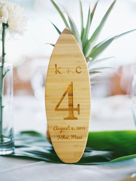 clemaroundthecorner numéro de table effet planche surf bois déco mariage
