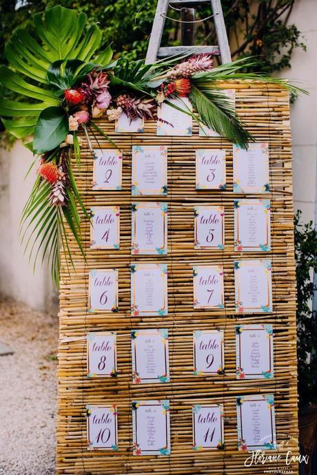 plan de table tableau osier style tropical blog déco mariage