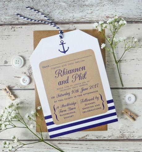 faire part marron carton blanc bleu style marin table bois déco clemaroundthecorner
