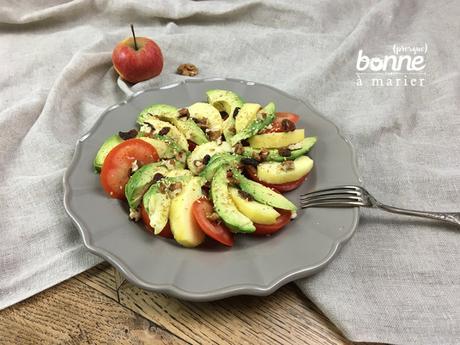 Salade sucrée salée d'entre 2 saisons {avocat, tomate, pomme}