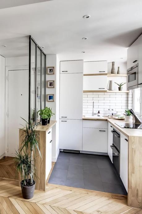 cuisine ouverte sur salo petit espace studio - blog déco - clem around the corner