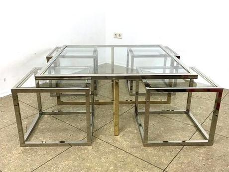 maison coffee table vintage coffee table in brass and chrome with 4 nesting tables by