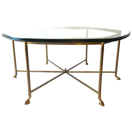 maison coffee table vintage hexagon cloven hoof brass coffee cocktail table for sale