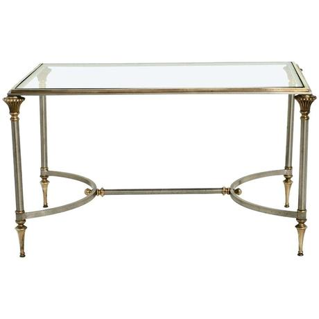 maison coffee table classic style brass and stainless steel cocktail table
