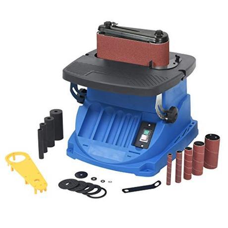 vidaXL Ponceuse à Bande et à Axe Oscillant 450 W Bleu Outil...  - 41wSpmaIKuL -