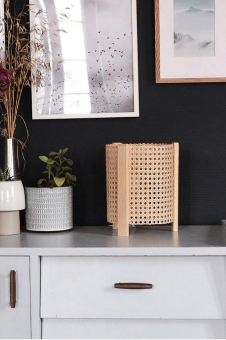 cannage diy lampe minimaliste mur noir création décoration - blog déco - clem around the corner