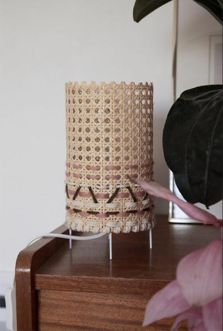cannage diy lampe boho laine création décoration - blog déco - clem around the corner