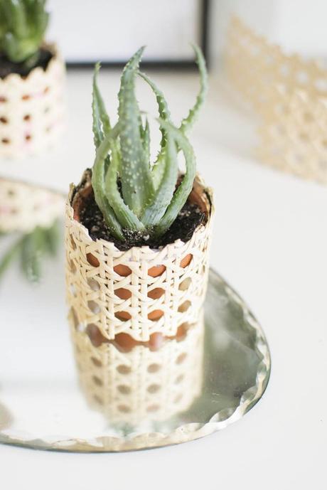 cannage diy pot de fleurs terre cuite - blog déco - clem around the corner