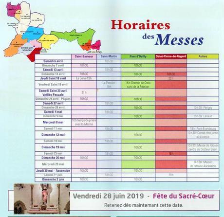 HORAIRES DES MESSES DU 06/04 AU 02/06/2019