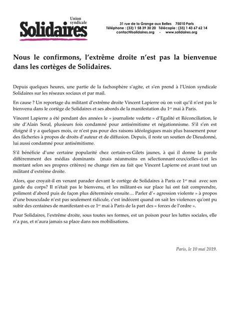 NON, nous ne sommes pas #Solidaires de la taupe fasciste @VincLapierre ! #fachosphère